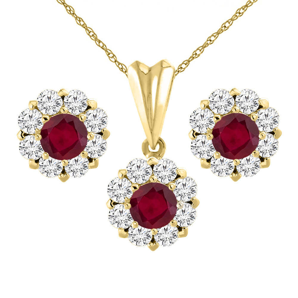 14K Yellow Gold Enhanced Genuine Ruby Earrings and Pendant Set with Diamond Halo Round 6 mm