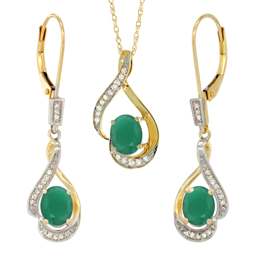 14K Yellow Gold Diamond Natural Emerald Lever Back Earrings & Necklace Set Oval 7x5mm, 18 inch long
