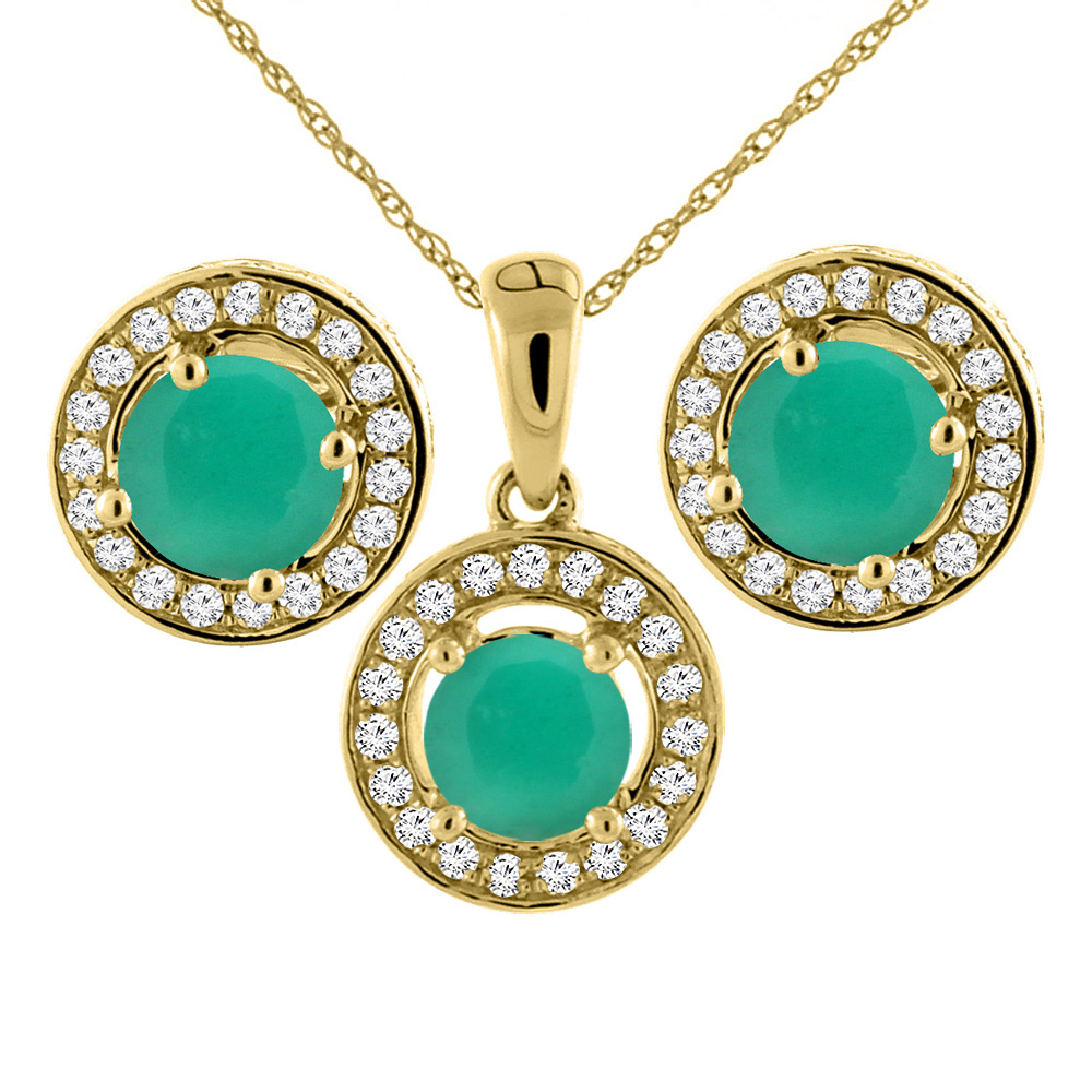 14K Yellow Gold Natural Emerald Earrings and Pendant Set with Diamond Halo Round 5 mm