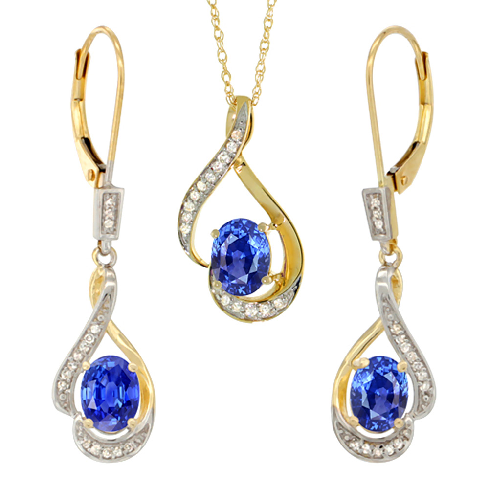 14K Yellow Gold Diamond Natural Blue Sapphire Lever Back Earrings & Necklace Set Oval 7x5mm, 18 inch long