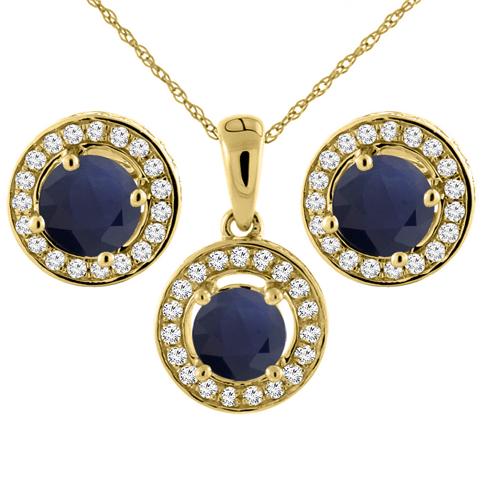 14K Yellow Gold Natural Blue Sapphire Earrings and Pendant Set with Diamond Halo Round 5 mm