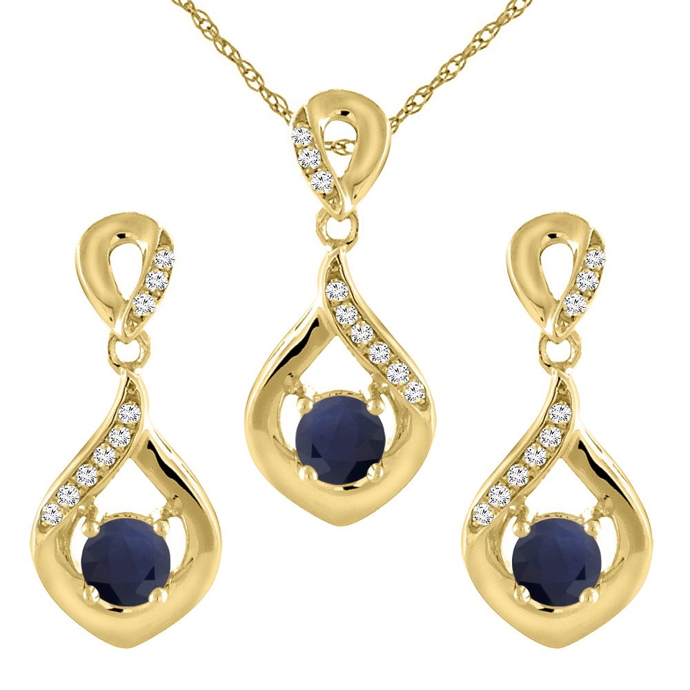 14K Yellow Gold Diamond Halo Natural Quality Blue Sapphire Earrings & Pendant Set with  Round 4mm