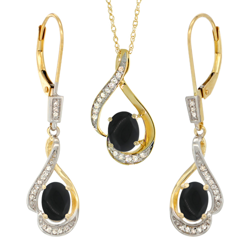 14K Yellow Gold Diamond Natural Black Onyx Lever Back Earrings & Necklace Set Oval 7x5mm, 18 inch long