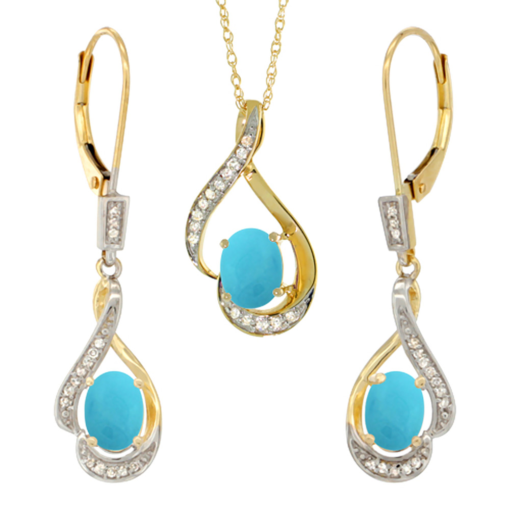 14K Yellow Gold Diamond Natural Turquoise Lever Back Earrings & Necklace Set Oval 7x5mm, 18 inch long