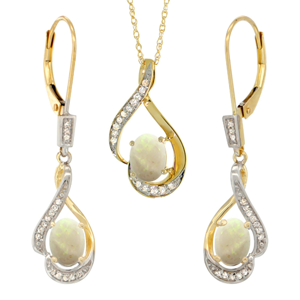 14K Yellow Gold Diamond Natural Opal Lever Back Earrings & Necklace Set Oval 7x5mm, 18 inch long