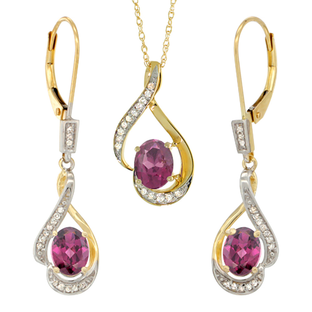 14K Yellow Gold Diamond Natural Rhodolite Lever Back Earrings & Necklace Set Oval 7x5mm, 18 inch long