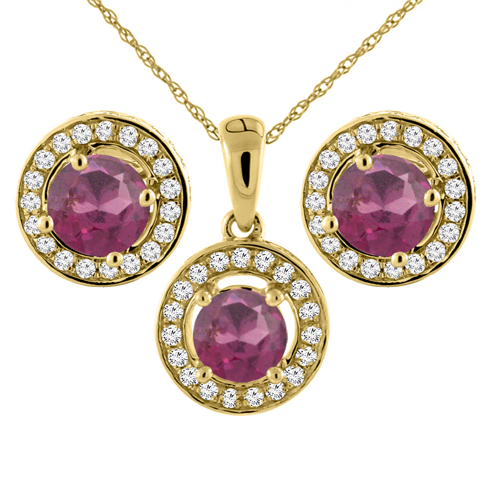 14K Yellow Gold Natural Rhodolite Earrings and Pendant Set with Diamond Halo Round 5 mm