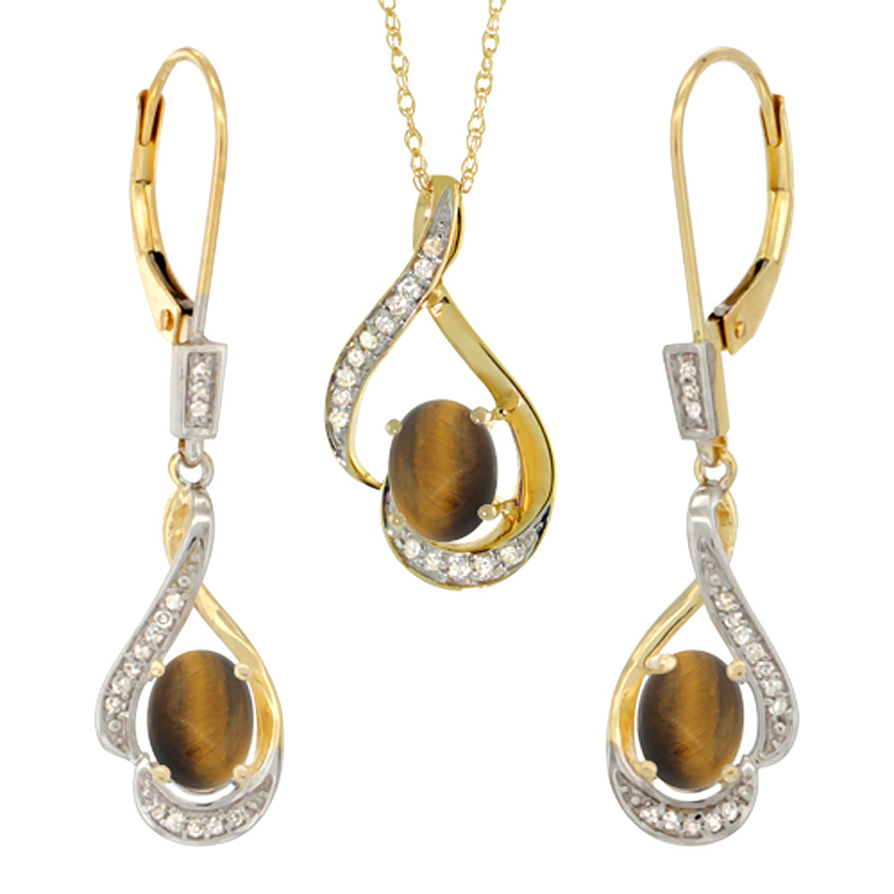 14K Yellow Gold Diamond Natural Tiger Eye Lever Back Earrings & Necklace Set Oval 7x5mm, 18 inch long