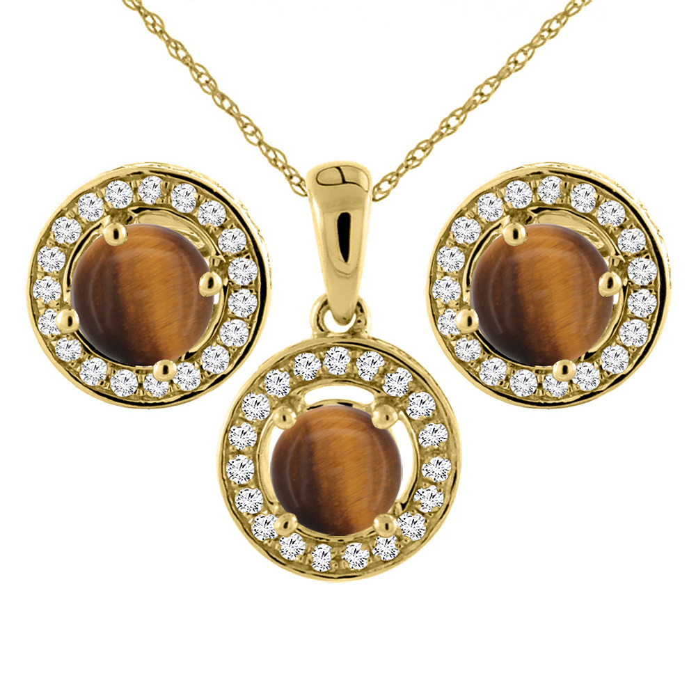 14K Yellow Gold Natural Tiger Eye Earrings and Pendant Set with Diamond Halo Round 5 mm