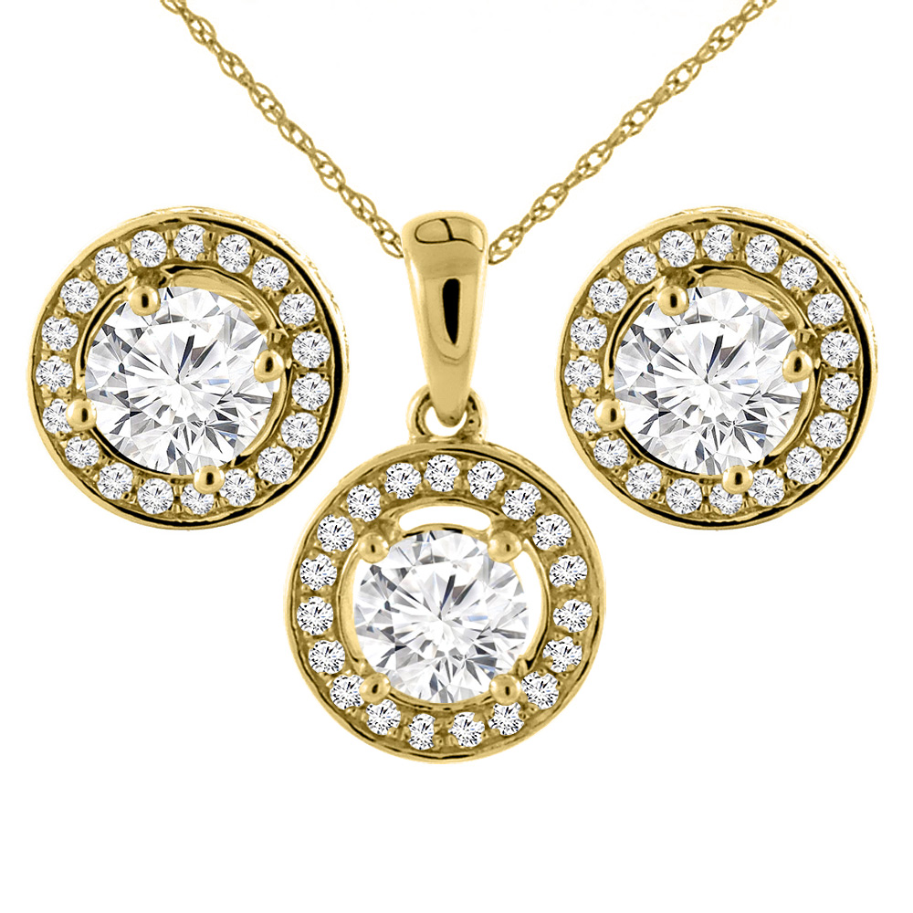 14K Yellow Gold 2 cttw Genuine Diamond Earrings and Pendant Set Halo Round 4.8 mm