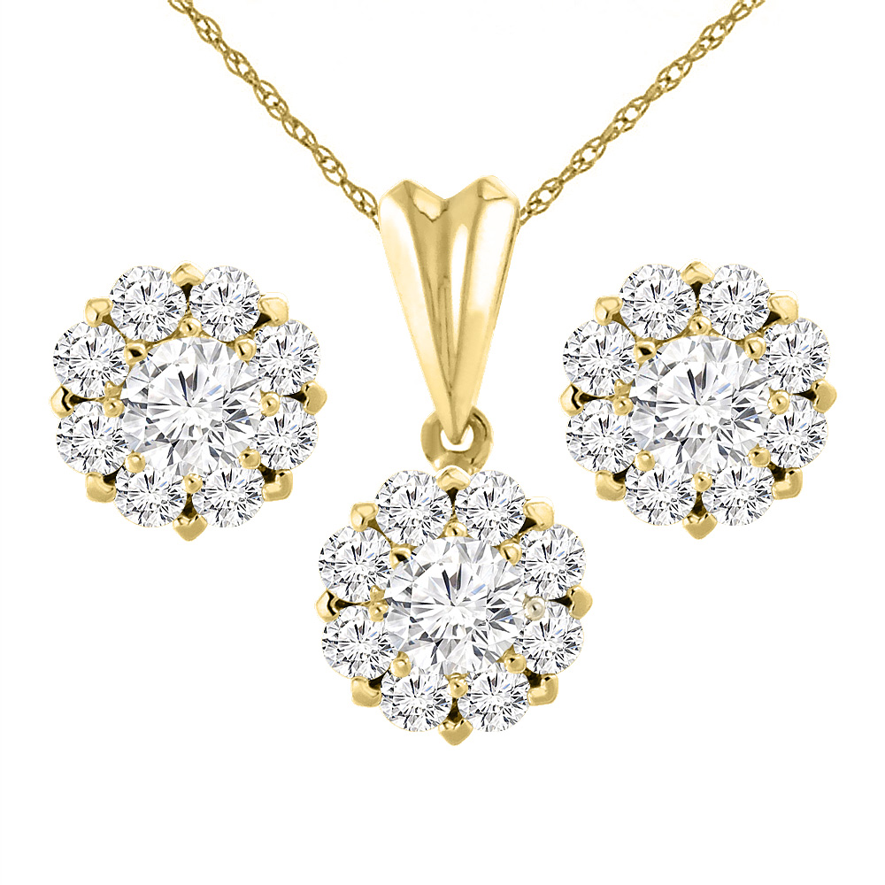 14K Yellow Gold 3.6 cttw Genuine Diamond Earrings and Pendant Set Halo Round 5.5 mm