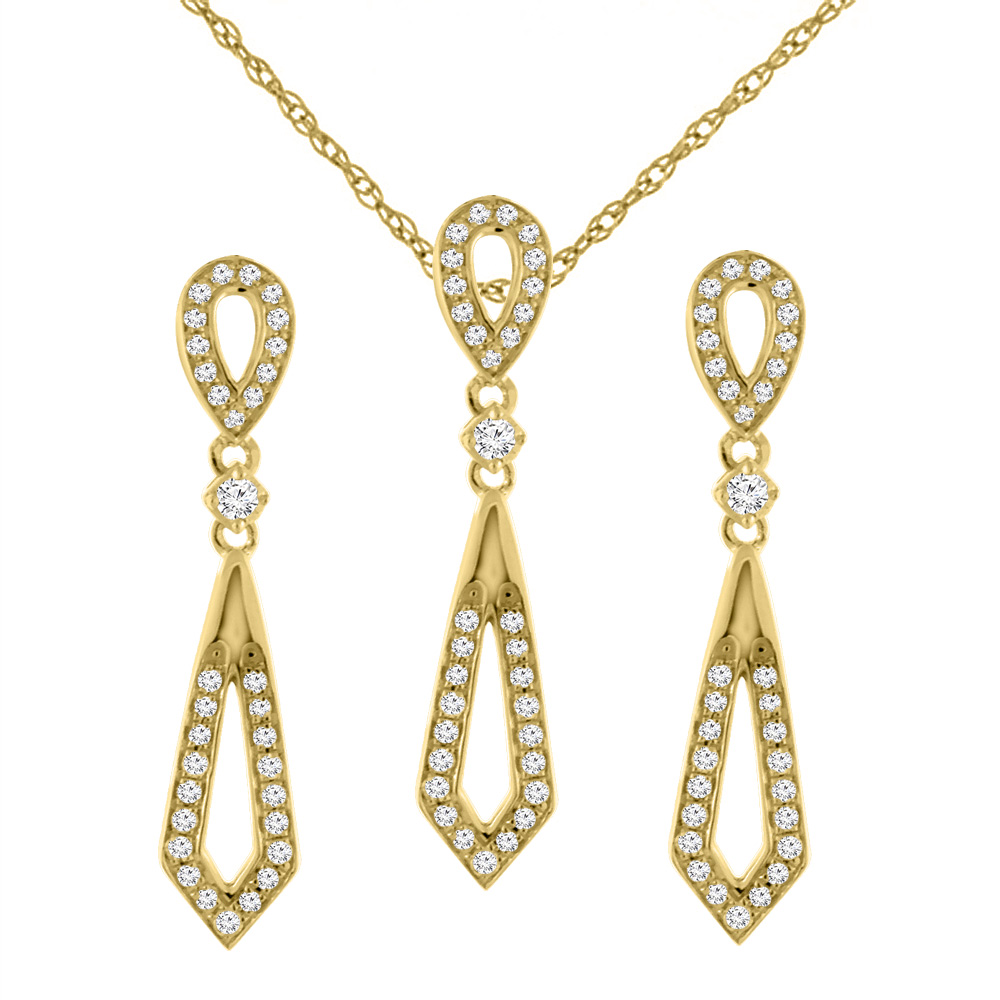 14K Yellow Gold 0.65 cttw Genuine Diamond Elongated Earrings and Pendant Set, 3/16 inches wide