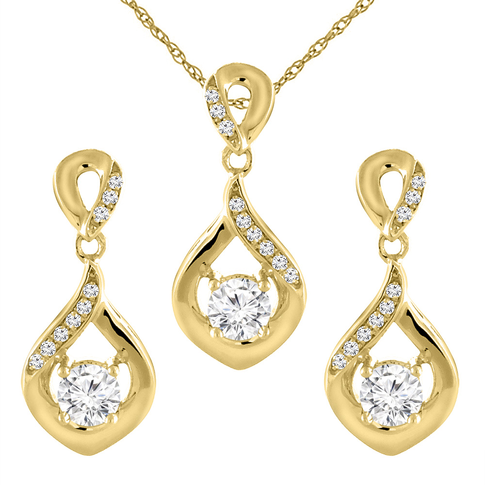 14K Yellow Gold 0.45 cttw Genuine Diamond Earrings and Pendant Set Round 3.5 mm