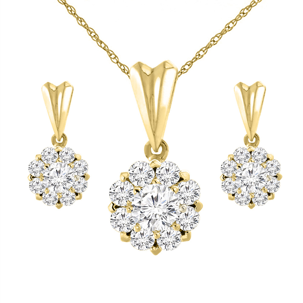 14K Yellow Gold 2 cttw Genuine Diamond Earrings and Pendant Set Halo Round 4.1 mm