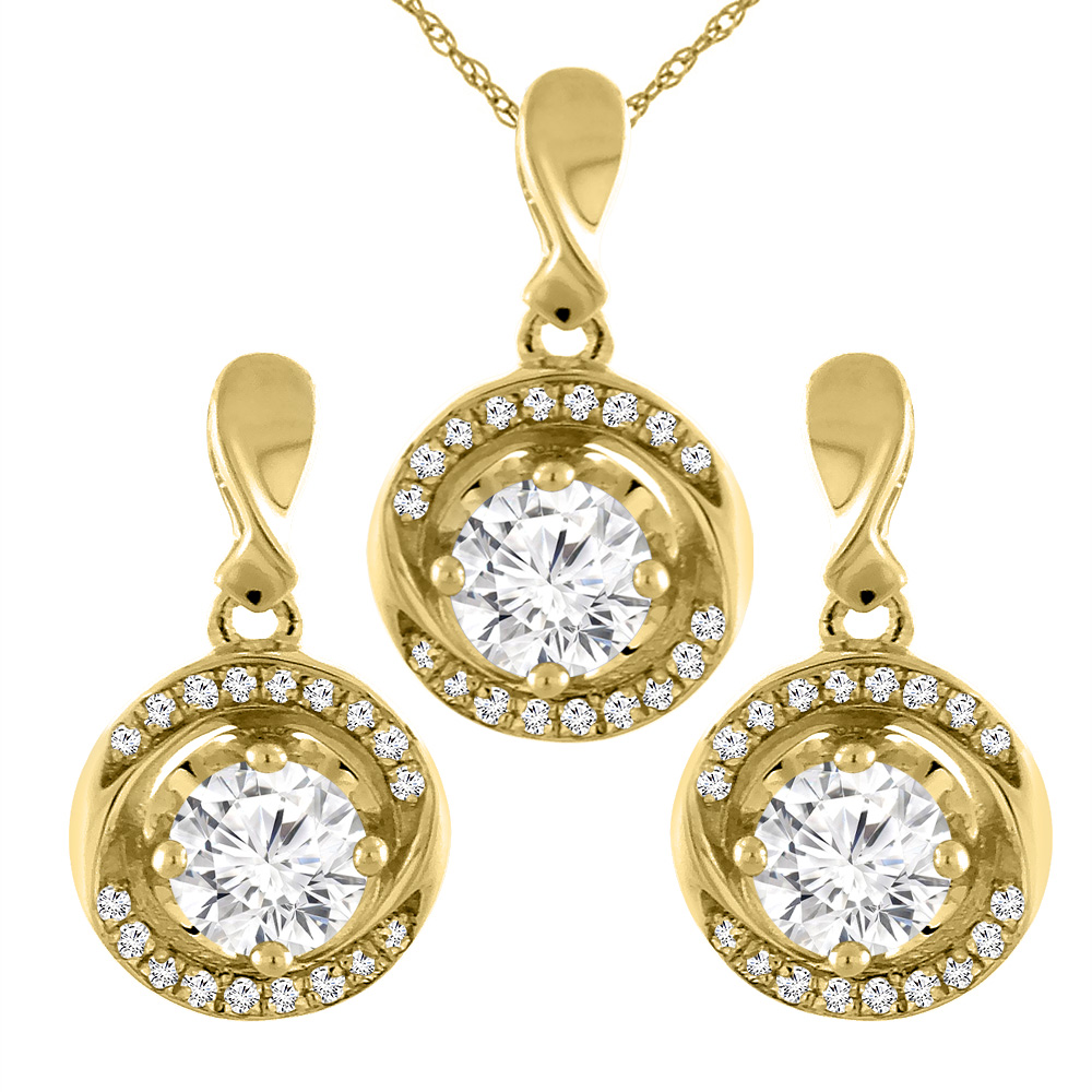 14K Yellow Gold 2.4 cttw Genuine Diamond Earrings and Pendant Set Round 4.2 mm