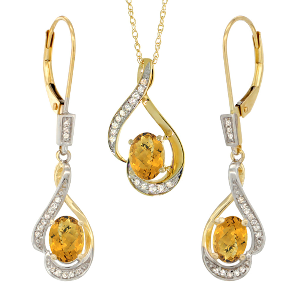 14K Yellow Gold Diamond Natural Whisky Quartz Lever Back Earrings & Necklace Set Oval 7x5mm, 18 inch long