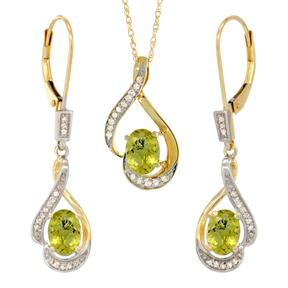 14K Yellow Gold Diamond Natural Lemon Quartz Lever Back Earrings & Necklace Set Oval 7x5mm, 18 inch long