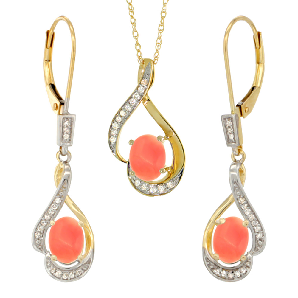 14K Yellow Gold Natural Coral Lever Back Earrings & Pendant Set Diamond Accent