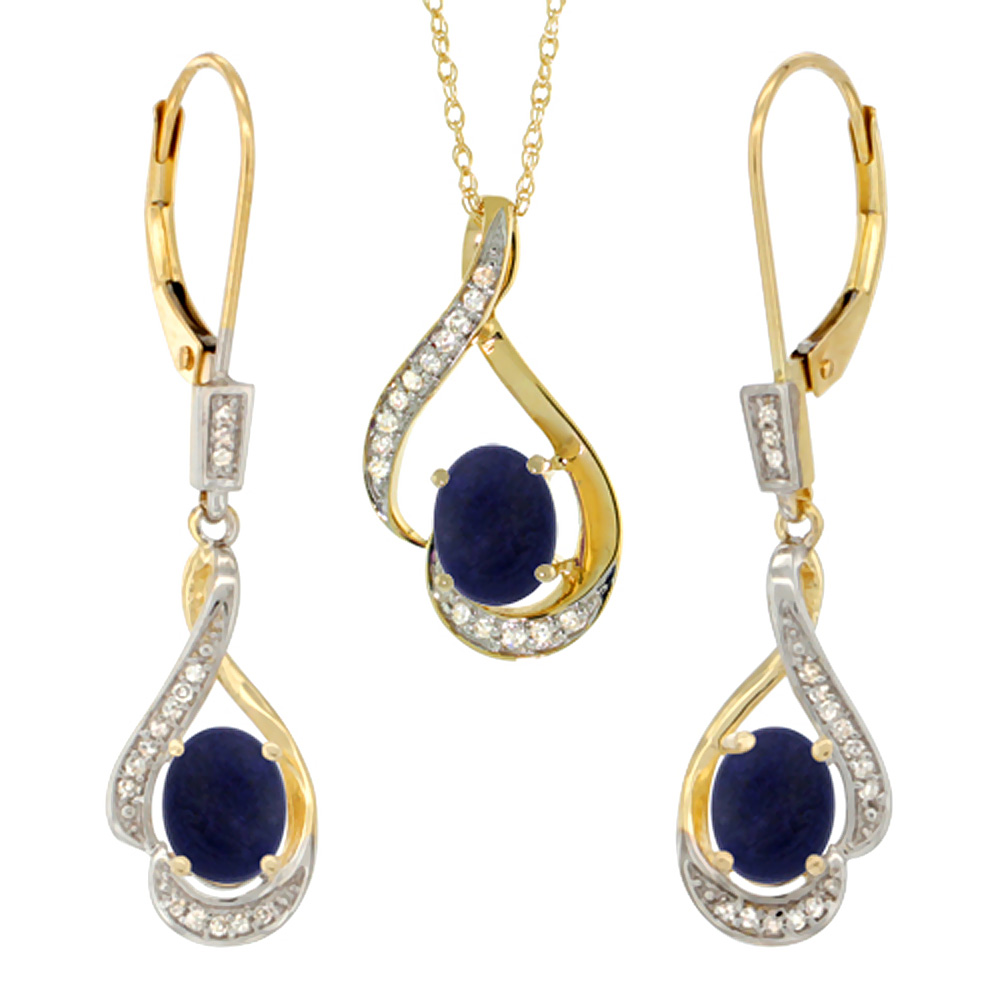 14K Yellow Gold Diamond Natural Lapis Lever Back Earrings & Necklace Set Oval 7x5mm, 18 inch long