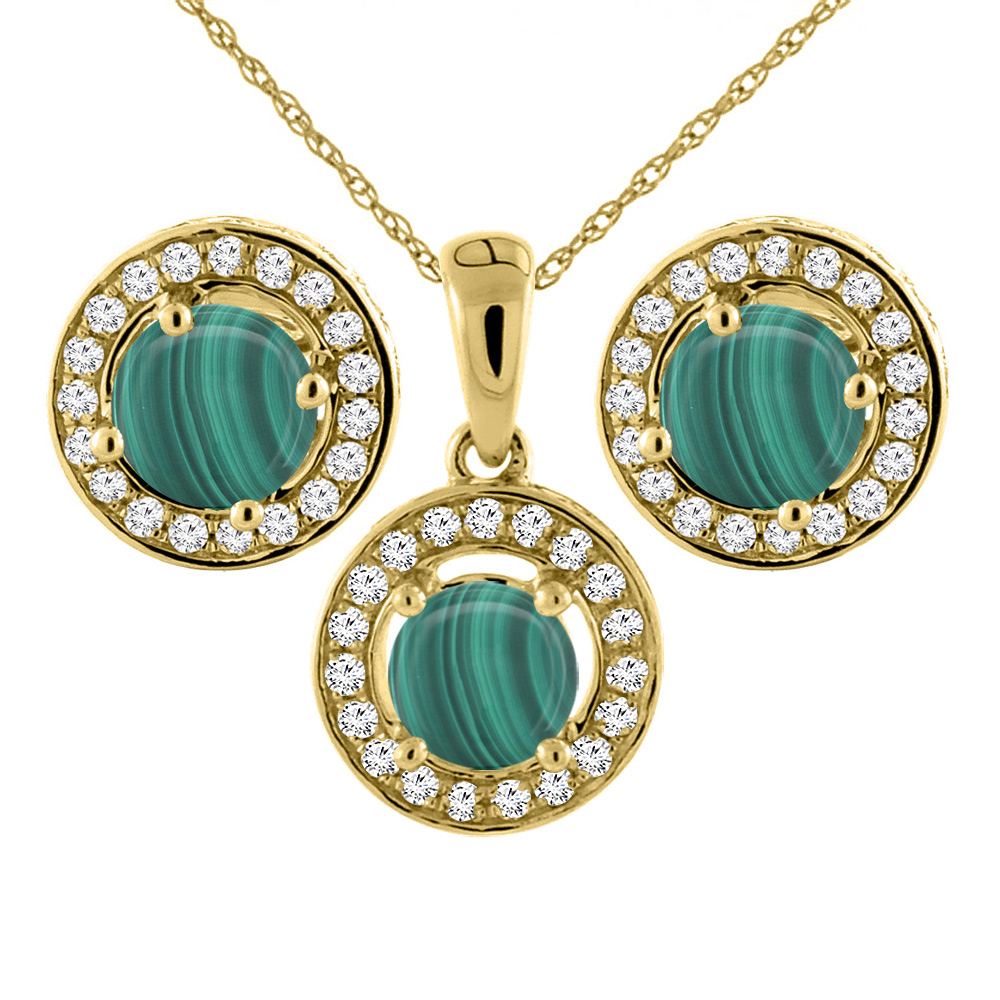 14K Yellow Gold Natural Malachite Earrings and Pendant Set with Diamond Halo Round 5 mm