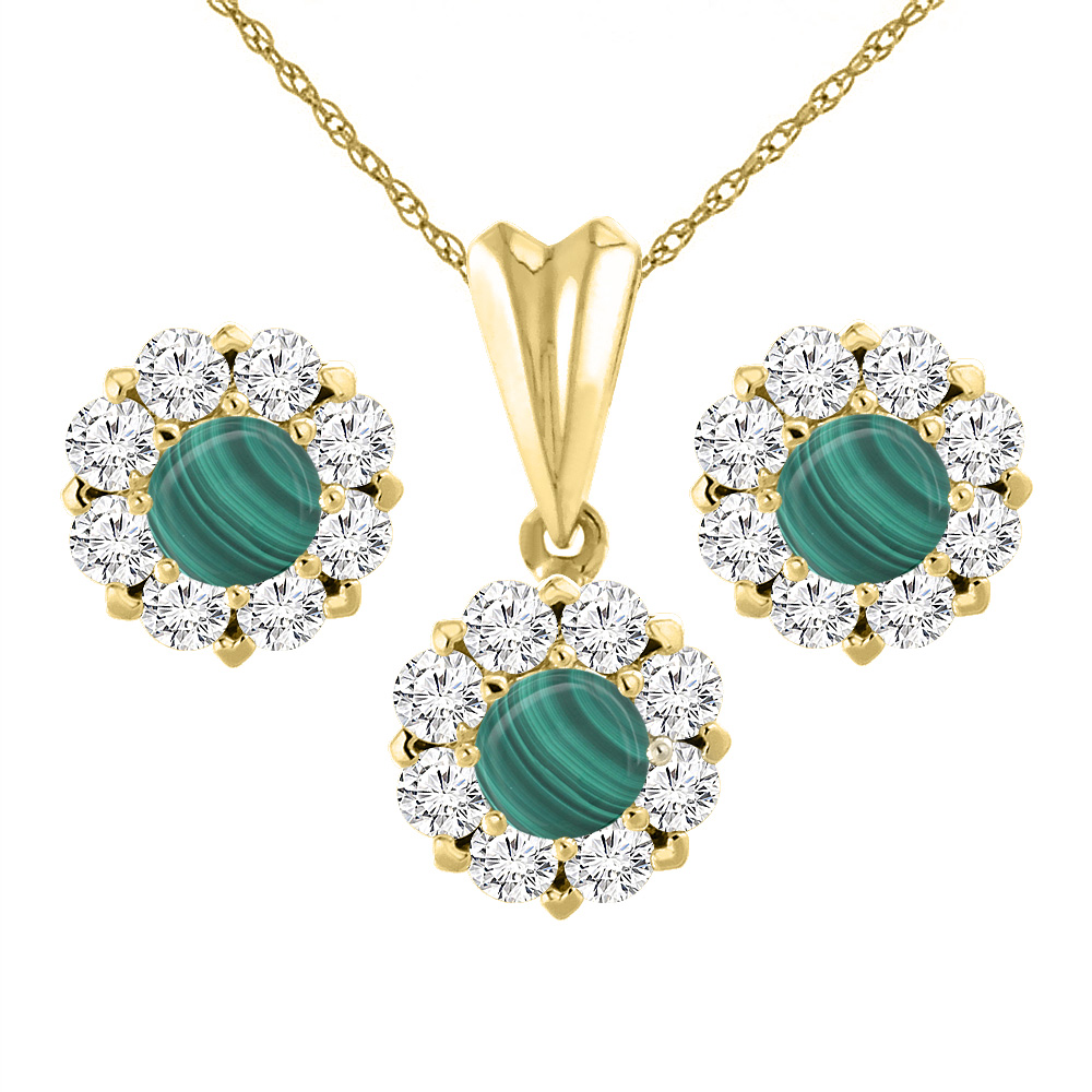 14K Yellow Gold Natural Malachite Earrings and Pendant Set with Diamond Halo Round 6 mm
