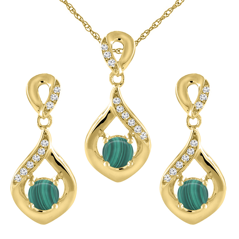 14K Yellow Gold Natural Malachite Earrings and Pendant Set with Diamond Accents Round 4 mm