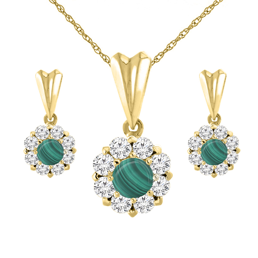 14K Yellow Gold Natural Malachite Earrings and Pendant Set with Diamond Halo Round 4 mm