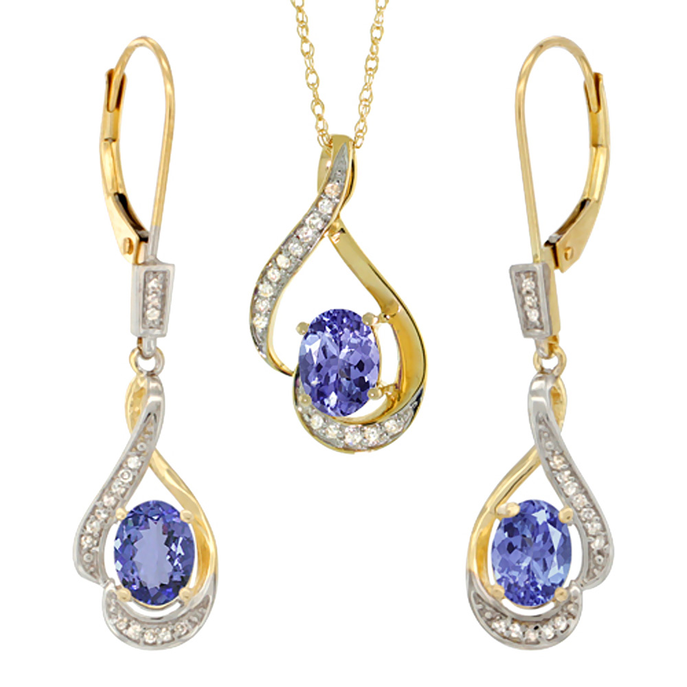 14K Yellow Gold Natural Tanzanite Lever Back Earrings & Pendant Set Diamond Accent