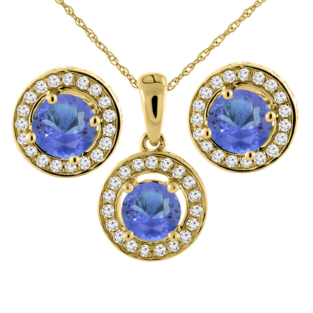 14K Yellow Gold Natural Tanzanite Earrings and Pendant Set with Diamond Halo Round 5 mm