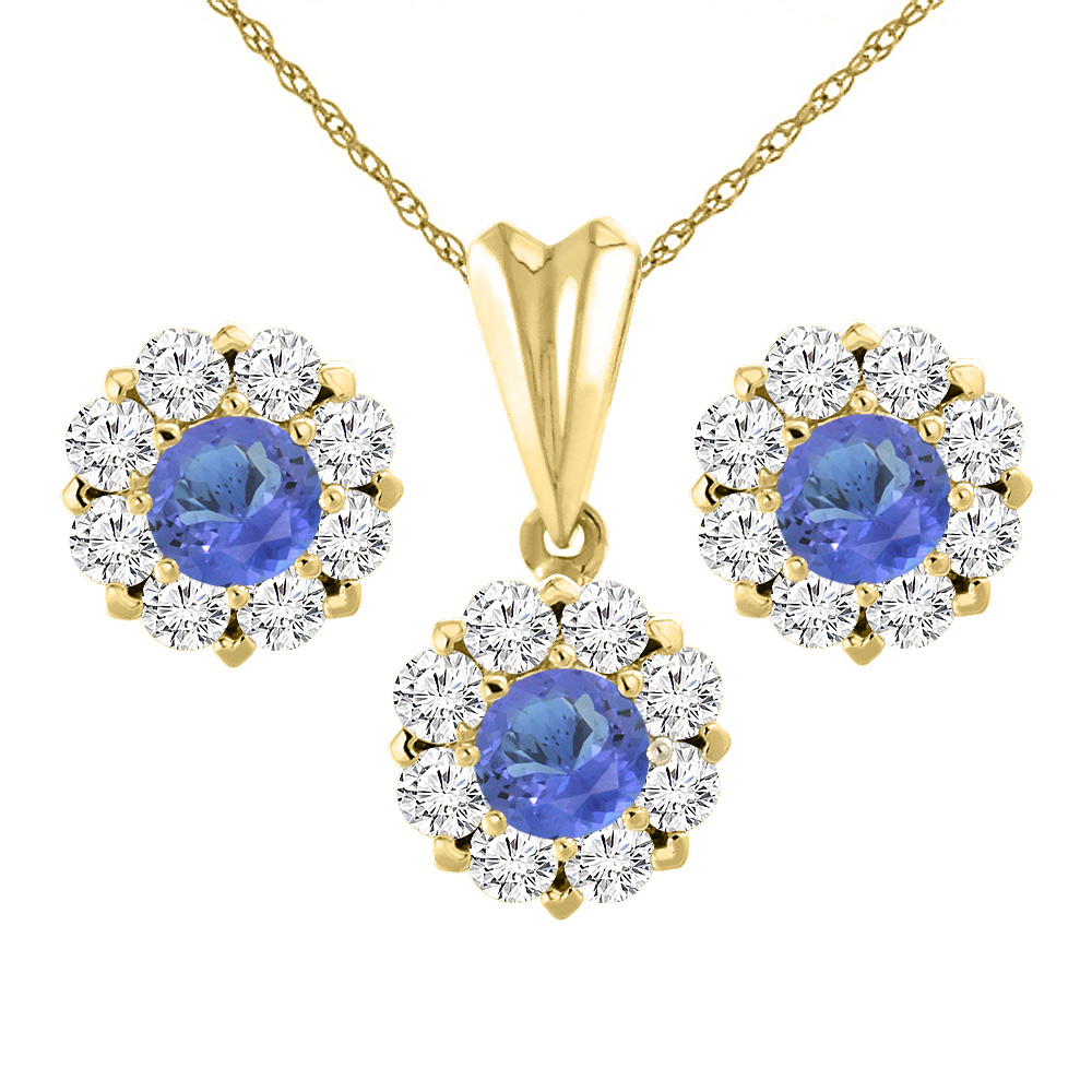 14K Yellow Gold Natural Tanzanite Earrings and Pendant Set with Diamond Halo Round 6 mm