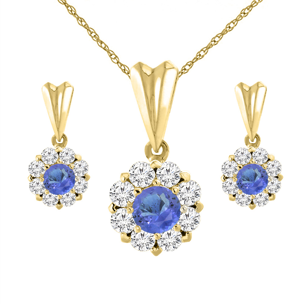 14K Yellow Gold Natural Tanzanite Earrings and Pendant Set with Diamond Halo Round 4 mm