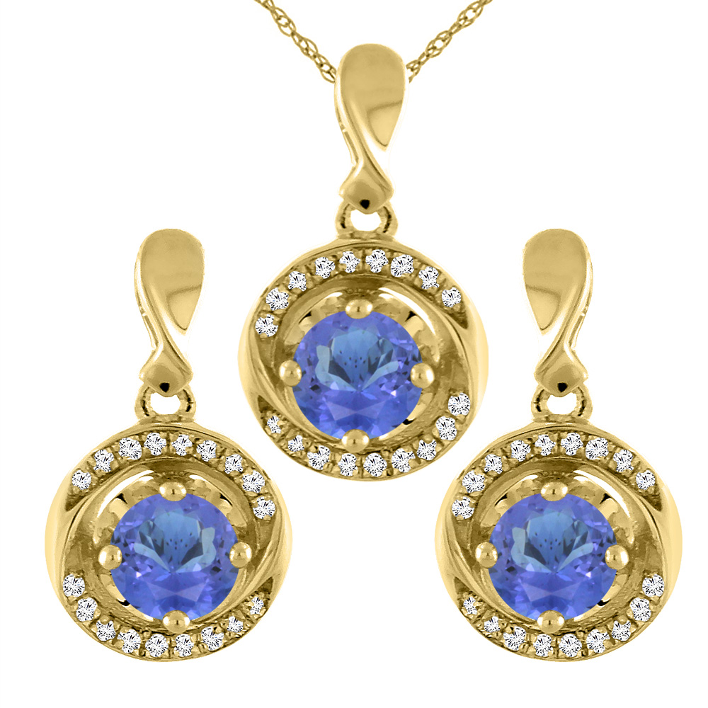 14K Yellow Gold Natural Tanzanite Earrings and Pendant Set with Diamond Accents Round 4 mm