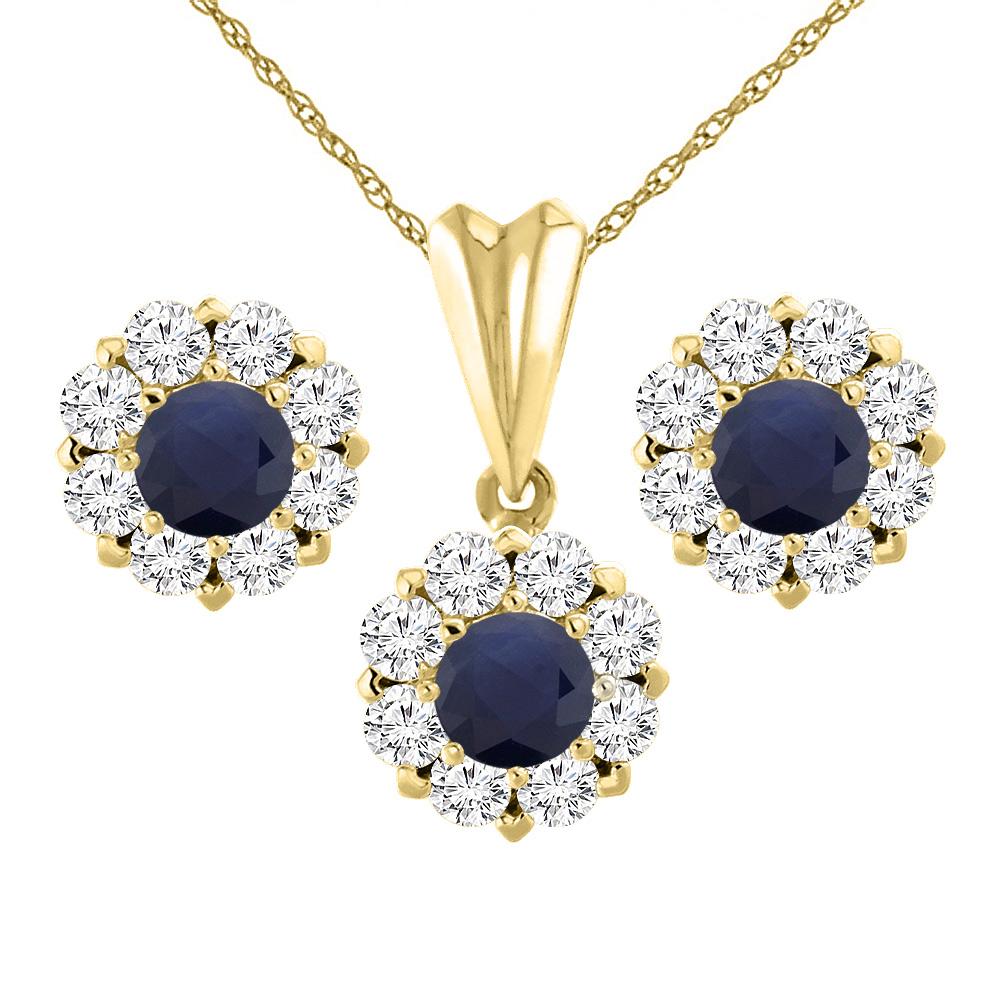 14K Yellow Gold Diamond Halo Natural Quality Blue Sapphire Earrings & Pendant Set Round 6 mm