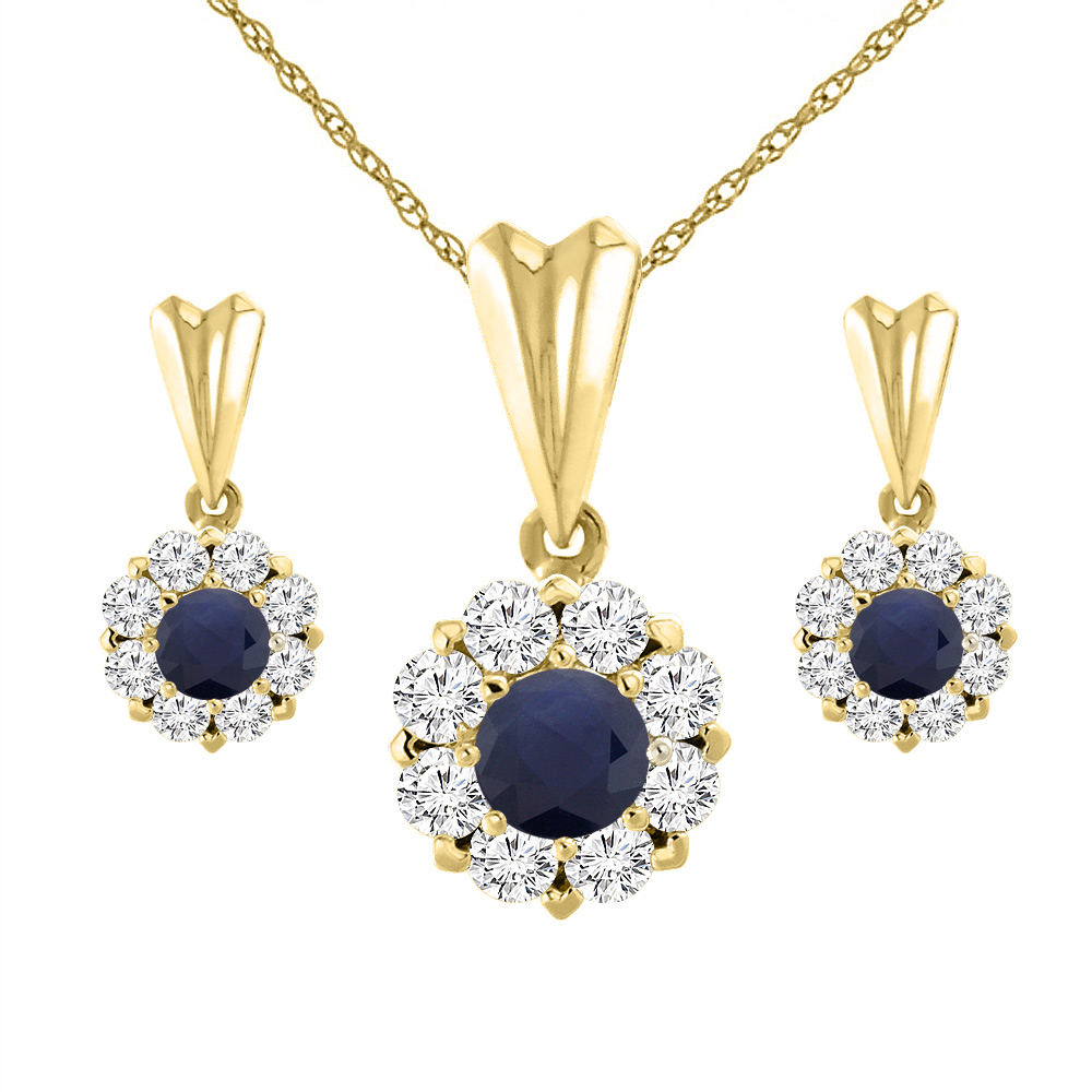 14K Yellow Gold Diamond Halo Natural Quality Blue Sapphire Earrings & Pendant Set Round 4 mm