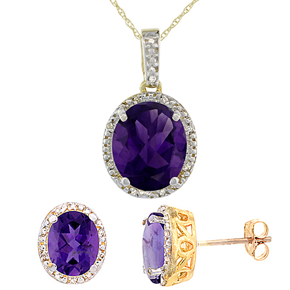 10K Yellow Gold Diamond Halo Natural Amethyst Earrings Necklace Set Oval 7x5mm & 12x10mm, 18 inch
