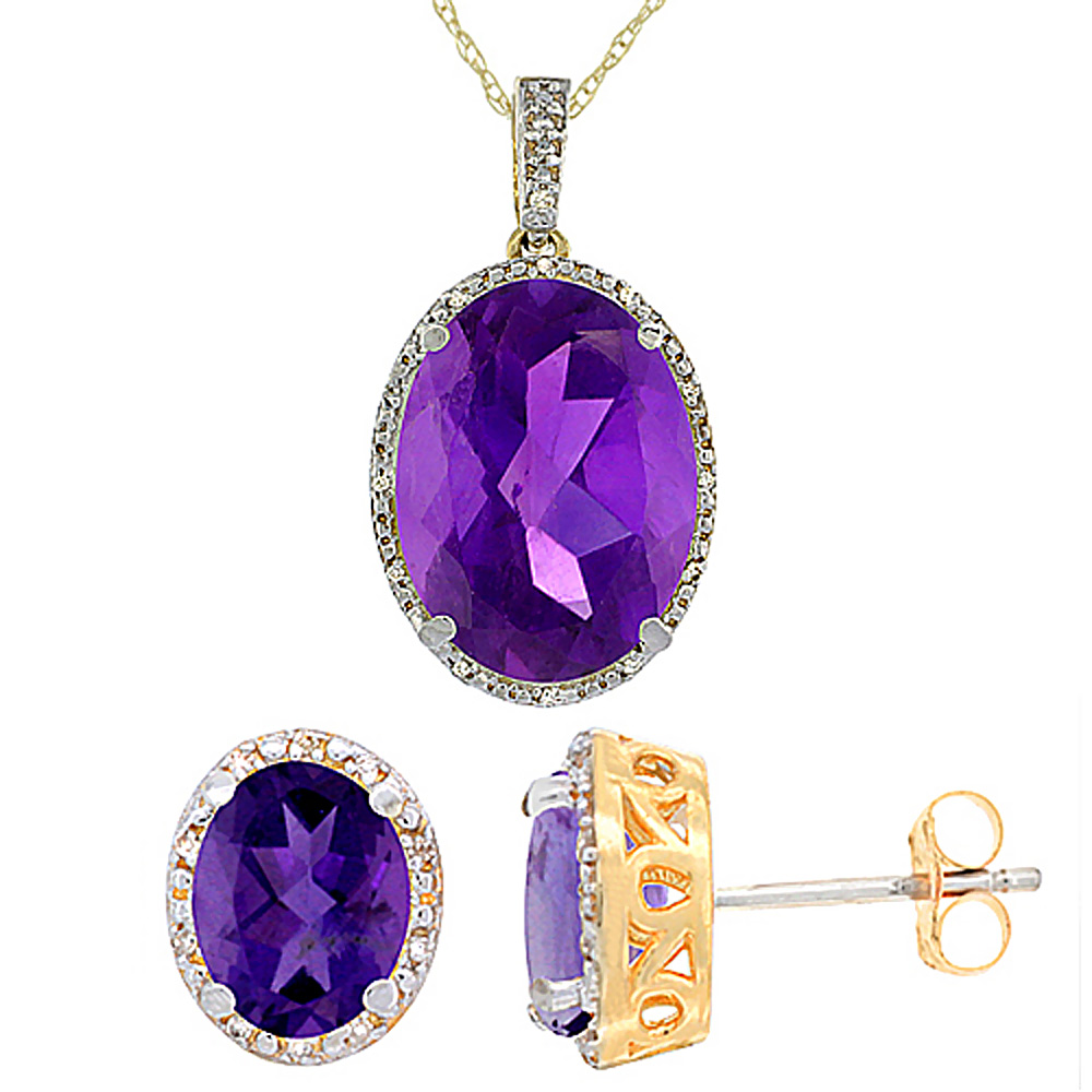 10K Yellow Gold Diamond Natural Oval Amethyst Earrings & Pendant Set