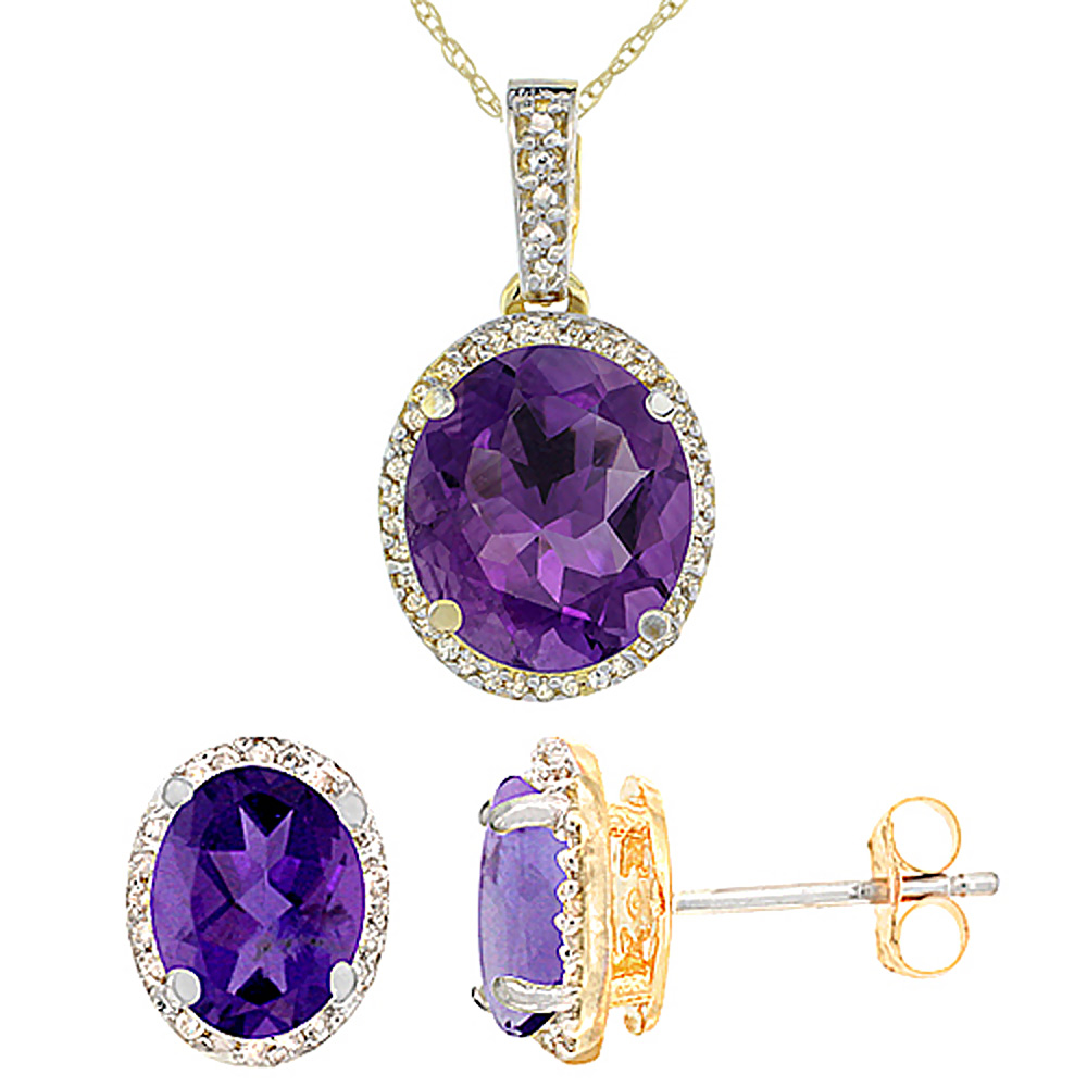 10K Yellow Gold Diamond Natural Amethyst Oval Earrings & Pendant Set