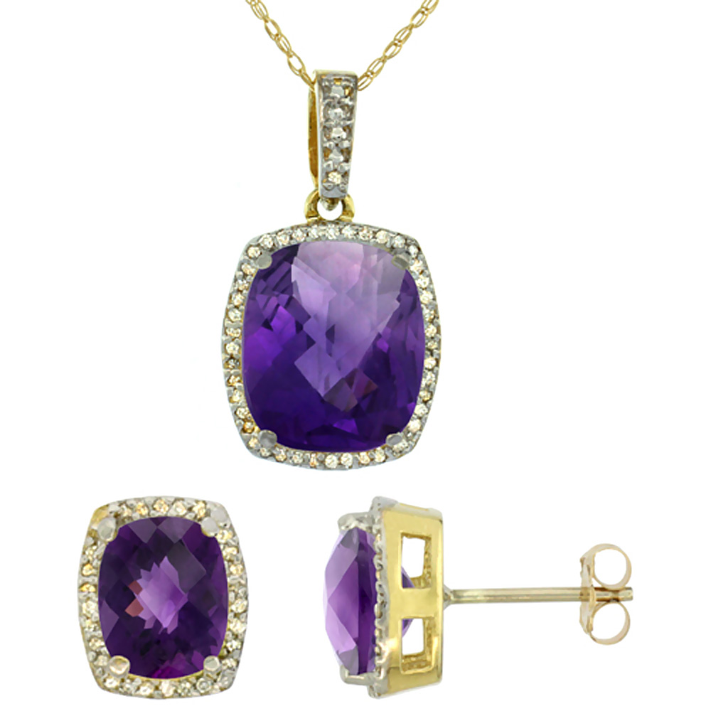 10K Yellow Gold Natural Amethyst Octagon Cushion Earrings & Pendant Set