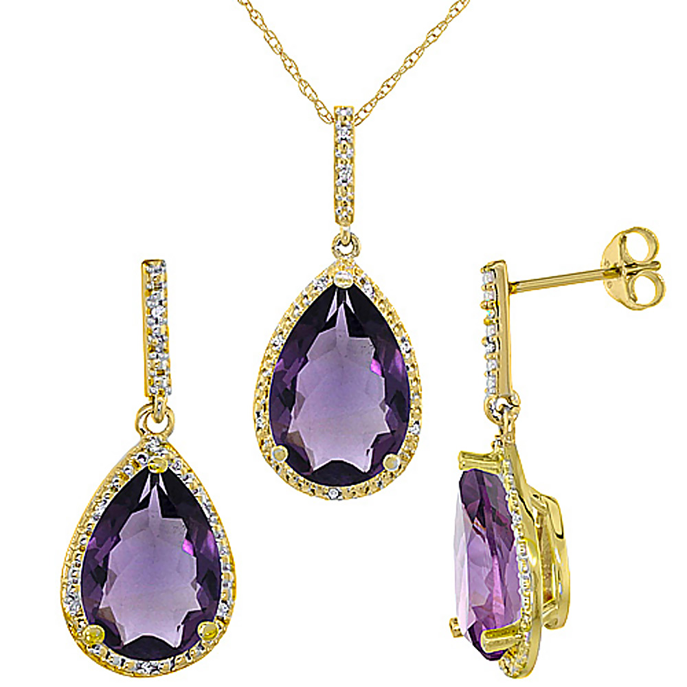 10K Yellow Gold Diamond Natural Amethyst Pear Shape Pendant & Earrings Set