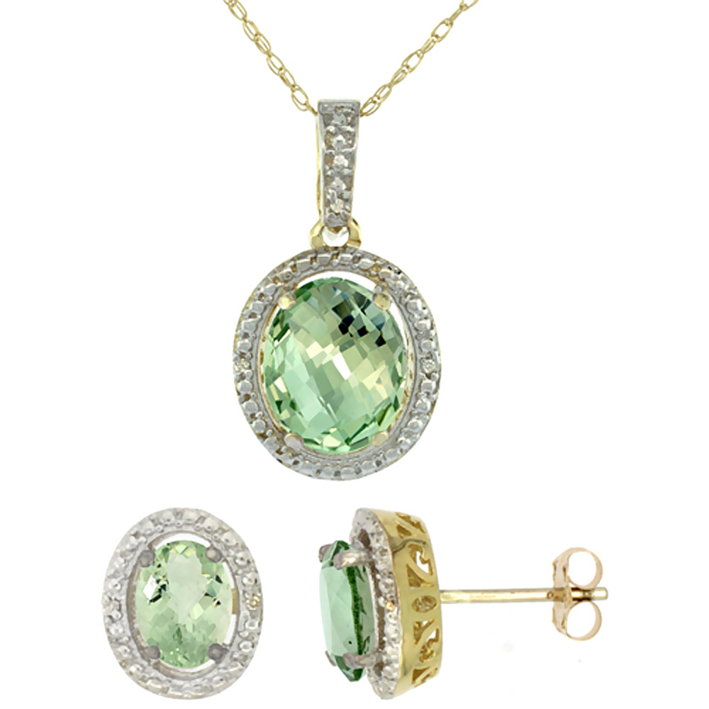 10K Yellow Gold Diamond Natural Green Amethyst Oval Earrings & Pendant Set