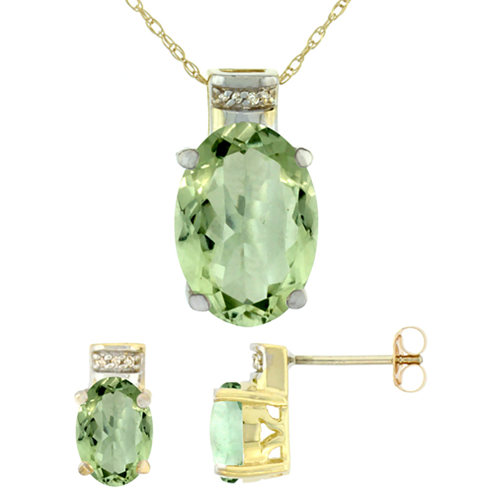 10K Yellow Gold Diamond Natural Oval Green Amethyst Earrings & Pendant Set