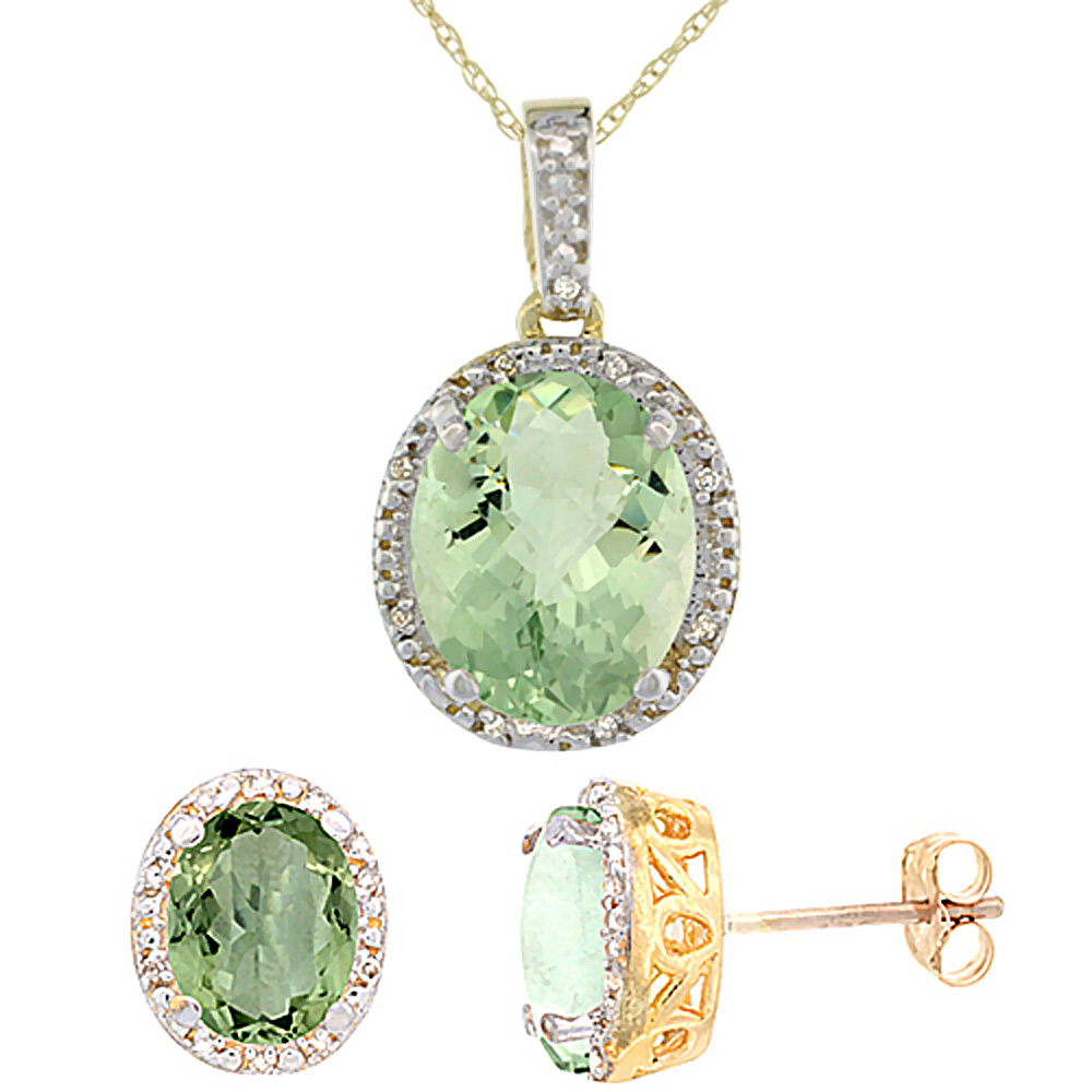 10K Yellow Gold Diamond Halo Natural Green Amethyst Earrings Necklace Set Oval 7x5mm & 12x10mm, 18 inch