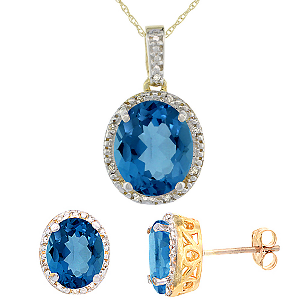 10K Yellow Gold Diamond Halo Natural London Blue Topaz Earrings Necklace Set Oval 7x5mm & 12x10mm,18 inch
