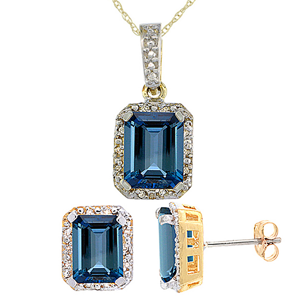 10K Yellow Gold Natural Octagon 8x6 mm London Blue Topaz Earrings & Pendant Set Diamond Accents
