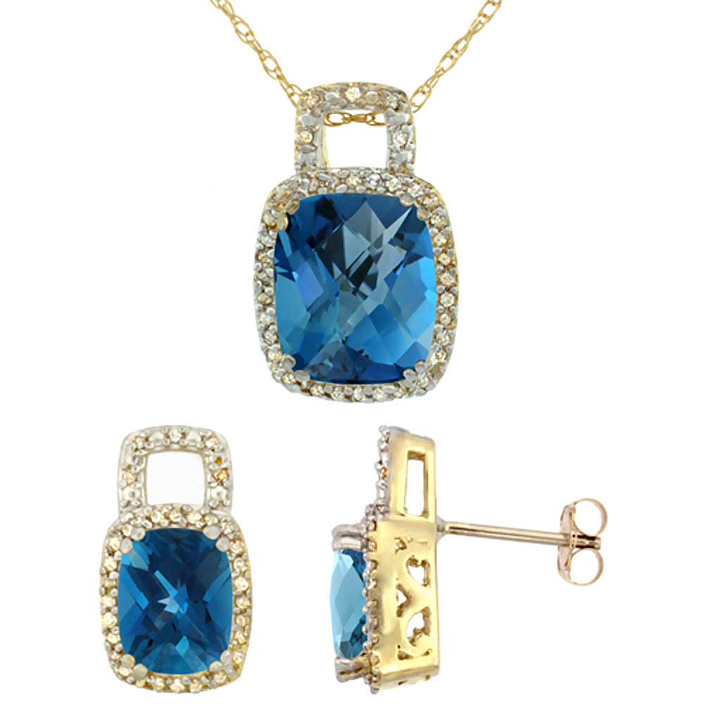 10K Yellow Gold Natural Octagon Cushion London Blue Topaz Earrings & Pendant Set Diamond Accents