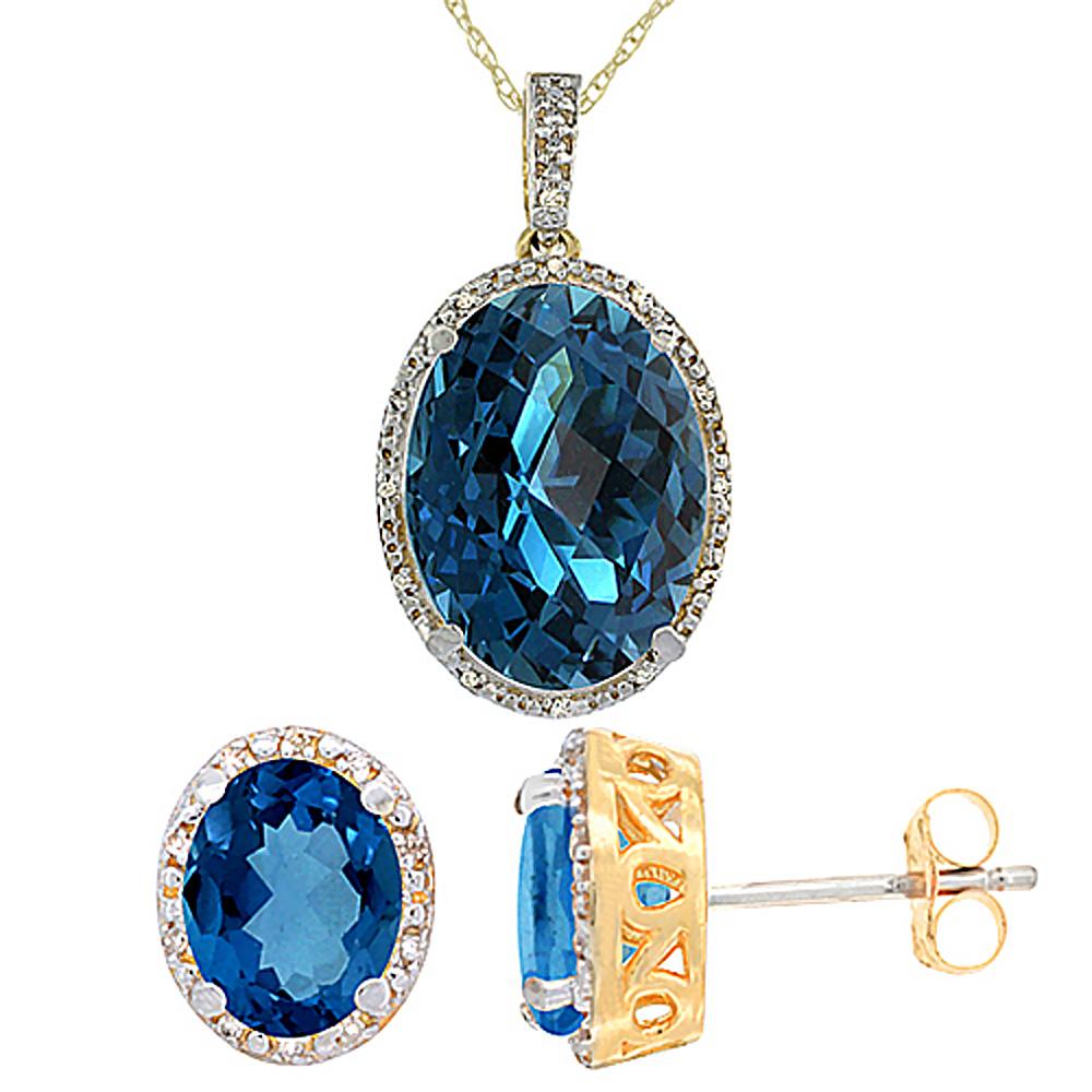 10K Yellow Gold Diamond Natural Oval London Blue Topaz Earrings & Pendant Set