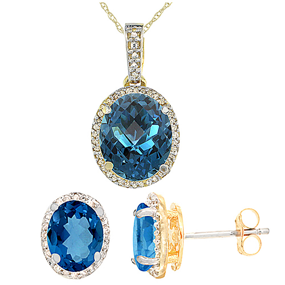 10K Yellow Gold Diamond Natural London Blue Topaz Oval Earrings & Pendant Set