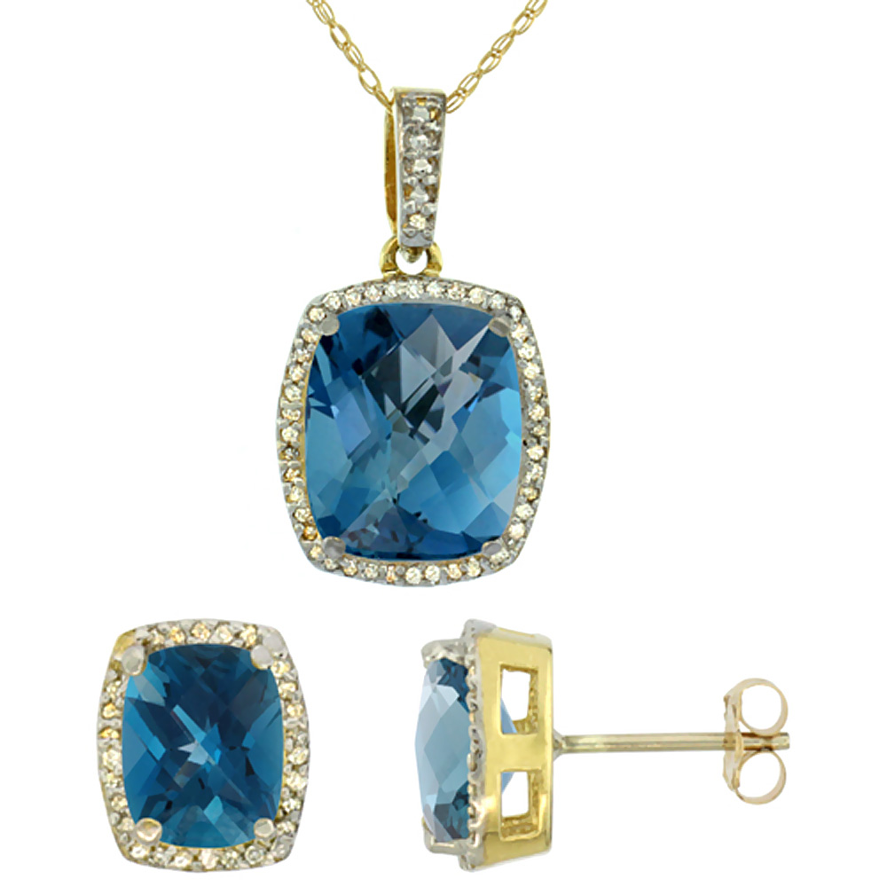 10K Yellow Gold Natural London Blue Topaz Octagon Cushion Earrings & Pendant Set
