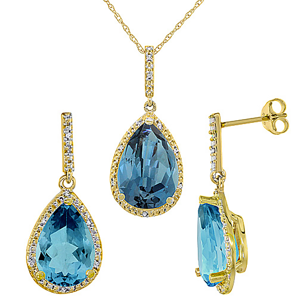 10K Yellow Gold Diamond Natural London Blue Topaz Earrings Necklace Set PearShaped 12x8mm&15x10mm,18 inch