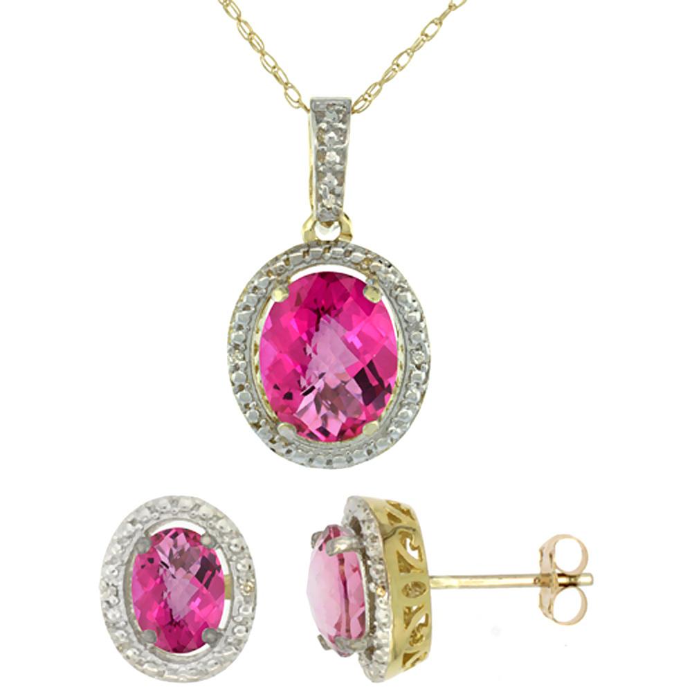 10K Yellow Gold Diamond Natural Pink Topaz Oval Earrings & Pendant Set